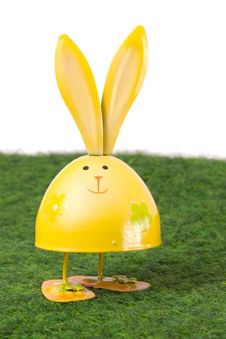 Free Smiling Yellow Bunny On Grass Royalty Free Stock Photo - 18537455