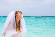 Free Bride On A Tropical Beach Royalty Free Stock Image - 18537546