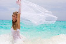 Free Bride On A Tropical Beach Royalty Free Stock Image - 18537556