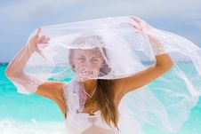 Free Bride On A Tropical Beach Royalty Free Stock Images - 18537579