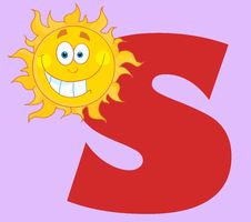 Free Happy Smiling Sun With Letters S Stock Images - 18539164