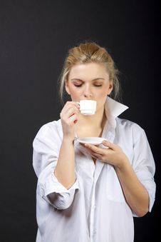 Sensual Blond With Cup Royalty Free Stock Image