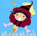 Free Sweet Witch On A Broom Royalty Free Stock Image - 18540056