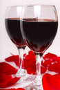 Free Two Glasses Of Wine With Petals Of Rose Royalty Free Stock Photography - 18547607