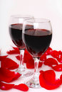 Free Two Glasses Of Wine With Petals Of Rose Stock Images - 18547614