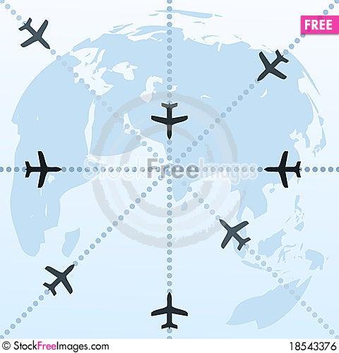 Planes over the world Cartoon Illustration