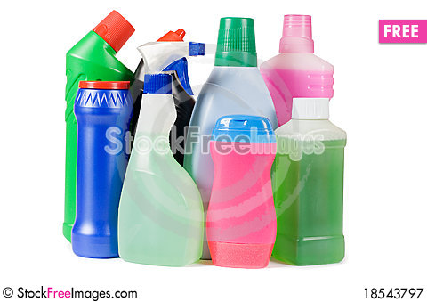 Assortment of means for cleaning isolated Stock Photo
