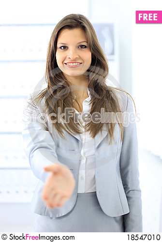 Woman with an open hand ready Stock Photo