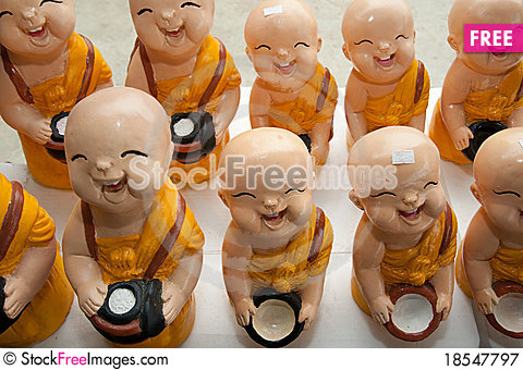 Thai Monk Laugh Stock Photo