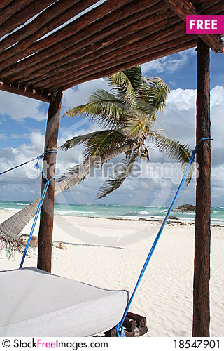 Cancun Bay Beach in Mexico Stock Photo