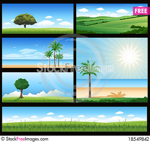 Free Various Nature Landscape Illustration Stock Photography - 18549842