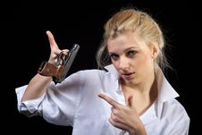 Free Businesswoman With Gun Stock Photo - 18540220