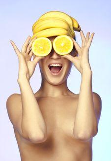 Topless Beautiful Woman, She Holding Orange Slice Royalty Free Stock Photo