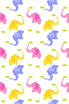 Free Seamless Cute Elephant Royalty Free Stock Photo - 18541915