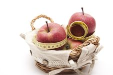Free Apples With Tape Measure Stock Image - 18542351