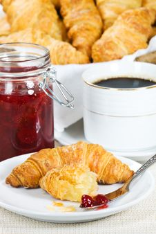 Free Croissant And Strawberry Jam Stock Image - 18542601