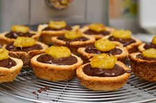 Free Chocolate Ganache And Banana Tarts Stock Image - 18543521
