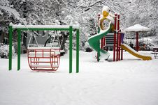 Free Playground With Snow Royalty Free Stock Photo - 18543705