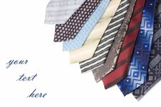 Free Set Of Luxury Ties On White Royalty Free Stock Images - 18543839