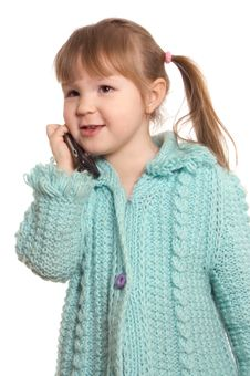 Free The Little Girl Speaks By Phone Royalty Free Stock Photos - 18543918