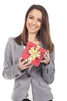 Woman Holding A Gift Red Box Stock Photography