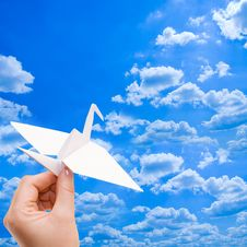 Free Paper Crane Against The Blue Sky Stock Photos - 18544213
