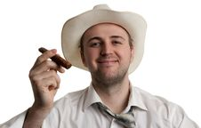 Free Man In A Hat With A Cigar Royalty Free Stock Photo - 18545815