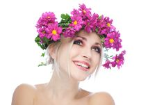 Beauty Woman Portrait With Wreath From Flowers Royalty Free Stock Image