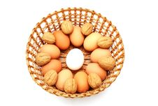 Free Eggs With Nuts In The Basket Royalty Free Stock Images - 18546419