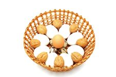 Free Eggs And Quail Egg In The Basket With Nuts Royalty Free Stock Photo - 18546475