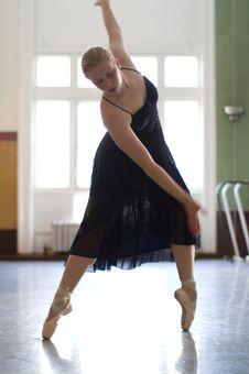 Dancer Practicing In Studio Stock Photo