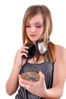 Free Girl With Headphones Royalty Free Stock Image - 18547126