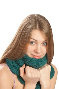 Free Young Woman With Scarf  On White Background Stock Photos - 18548083