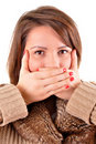 Free Young Woman Covering Her Mouth Stock Images - 18552114