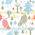 Free Winter Forest With Birds Stock Photography - 18553272