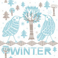 Free Winter Forest With Birds Royalty Free Stock Image - 18553476
