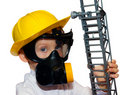 Free Little Boy - Preschooler In Fireman Face Mask Stock Photos - 18556803