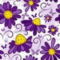 Free Floral Seamless White-violet Pattern Royalty Free Stock Photo - 18557295