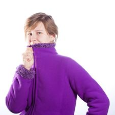 Free Young Woman In A Warm Violet Sweater Royalty Free Stock Photo - 18551925