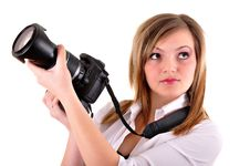 Free Young Woman With Photographic Camera Royalty Free Stock Images - 18552199