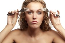 Free Female Looking Through Forks Stock Photos - 18552843