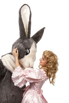 Pretty Girl With A Big Grey Rabbit Stock Image