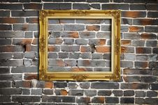 Free Golden Frame On Old Brick Wall Royalty Free Stock Image - 18553156