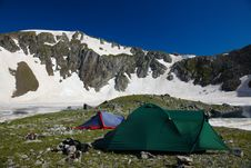 Free Bivvy Wih Tents  In The Mountains Stock Image - 18553311