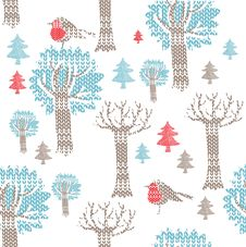 Free Winter Forest With Birds Royalty Free Stock Images - 18553439