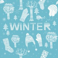 Winter Knitting Background Stock Photos