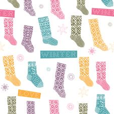 Free Winter Seamless Pattern With Socks Stock Photos - 18553593
