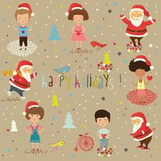 Free Winter Christmas Background With Kids And Santa Stock Images - 18553634