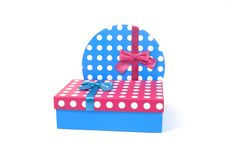 Free Two Present Decorated With Dots And Bows Royalty Free Stock Photos - 18554008