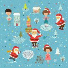 Free Winter Christmas Background With Kids And Santa Stock Images - 18554114